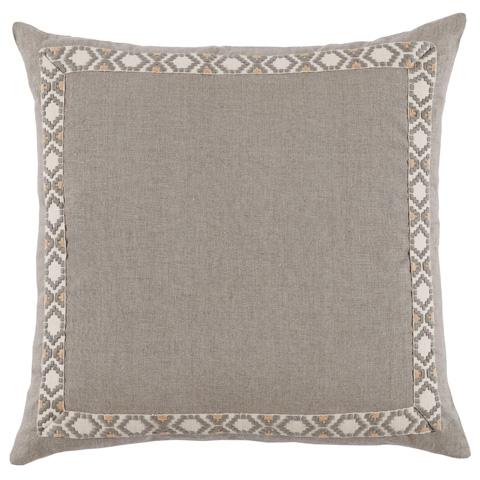 Lacefield Designs - Grey Natural Linen Border Throw Pillow - D939