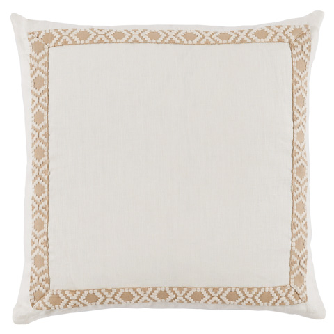 Lacefield Designs - White Eggshell Danish Linen Border Throw Pillow - D947