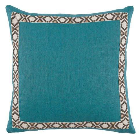 Image of Solid Teal Border Throw Pillow