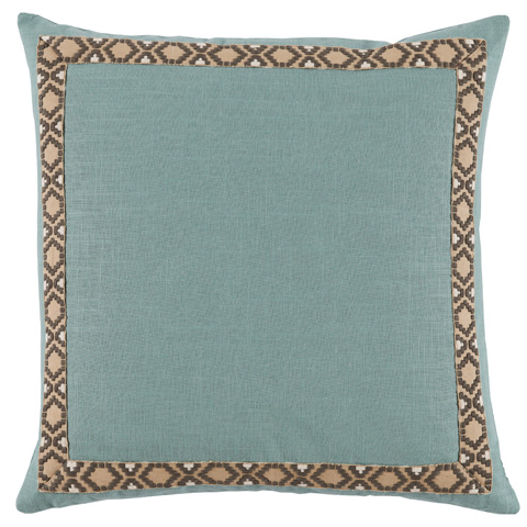 Lacefield Designs - Solid Aquamarine Border Throw Pillow - D953