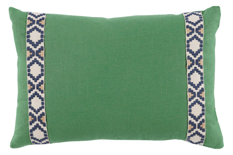 Lacefield Designs - Kelly Green Side Border Lumbar Pillow - D957