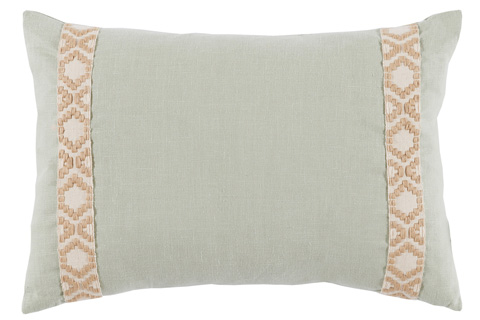 Lacefield Designs - Seafoam Mint Linen Side Border Lumbar Pillow - D960