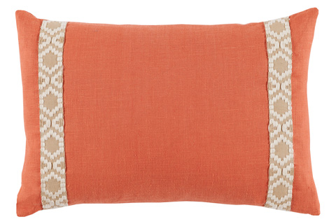 Lacefield Designs - Spice Orange Linen Side Border Lumbar Pillow - D961
