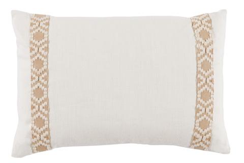 Lacefield Designs - Eggshell White Linen Side Border Lumbar Pillow - D962