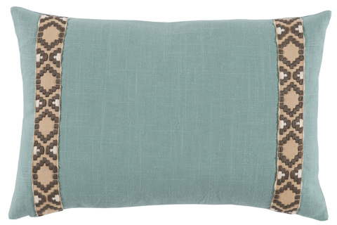Lacefield Designs - Aquamarine Linen Side Border Lumbar Pillow - D968
