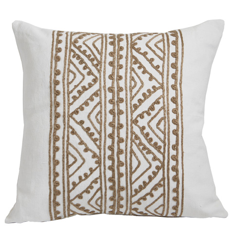 Lacefield Designs - White Hemp Embroidered Throw Pillow - D973