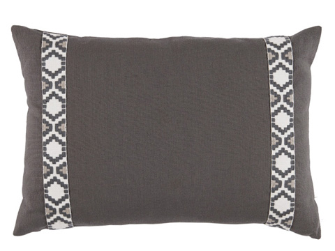 Lacefield Designs - Charcoal Grey Side Border Lumbar Pillow - D996