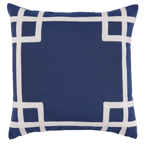 Image of Navy White Corner Tape Print Outdoor Pillow