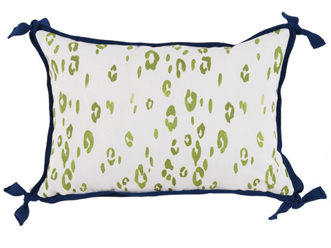 Lacefield Designs - Leopard Lime Green WhiteOutdoor Lumbar Pillow - OUT13