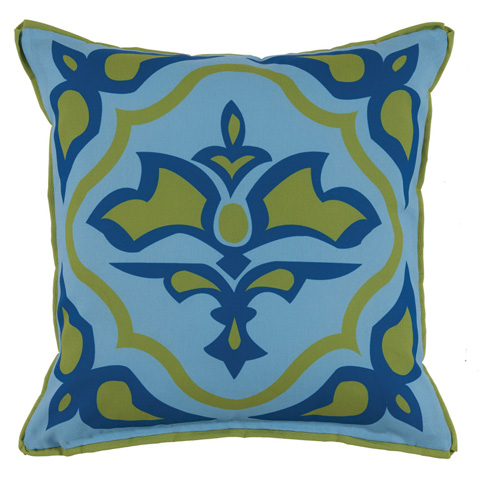 Lacefield Designs - Aqua Lime Green Floral MedallionOutdoor Pillow - OUT17