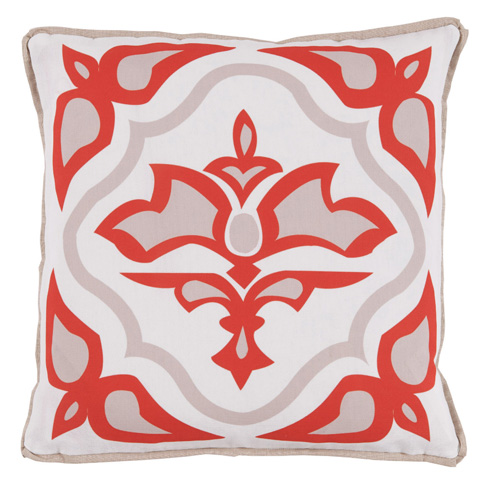 Lacefield Designs - Melon Taupe Floral Medallion Outdoor Pillow - OUT19