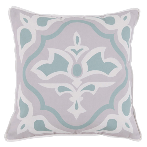 Lacefield Designs - Mint Taupe Floral Medallion Outdoor Pillow - OUT22