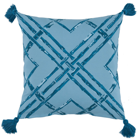 Lacefield Designs - Tidal Teal Bamboo Thread Print Outdoor Pillow - OUT24