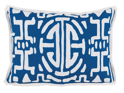 Lacefield Designs - Navy Geometric Print Outdoor Lumbar Pillow - OUT33