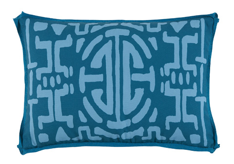 Lacefield Designs - Tidal TealGeometric Print Outdoor Lumbar Pillow - OUT36