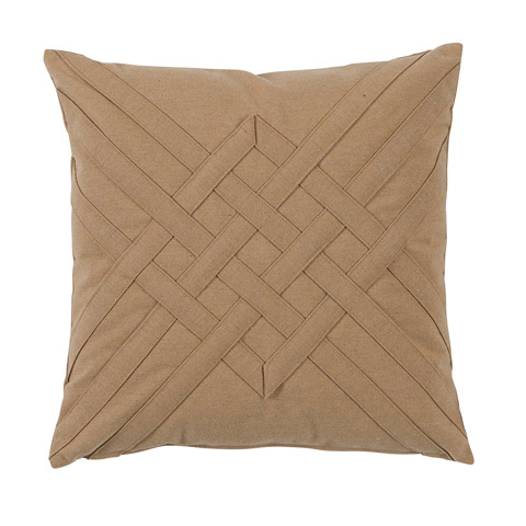 Lacefield Designs - Veranda Sisal Tan Quilt Interlaced Outdoor Pillow - OUT40