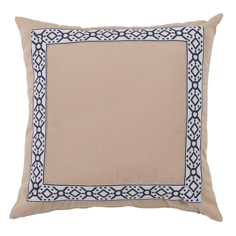 Lacefield Designs - Solid Almond Cream and Navy Print Outdoor Pillow - OUT45