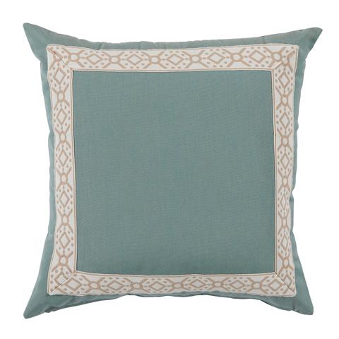 Lacefield Designs - Aqua Splash/Camel Print Tape Border Outdoor Pillow - OUT51
