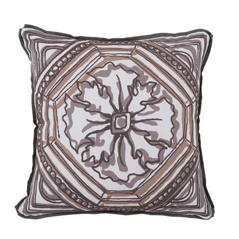 Lacefield Designs - Camel Brown Circle TileReversible Outdoor Pillow - OUT55