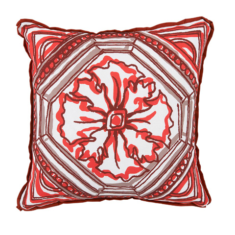 Lacefield Designs - Clay Red Circle TileReversible Outdoor Pillow - OUT56