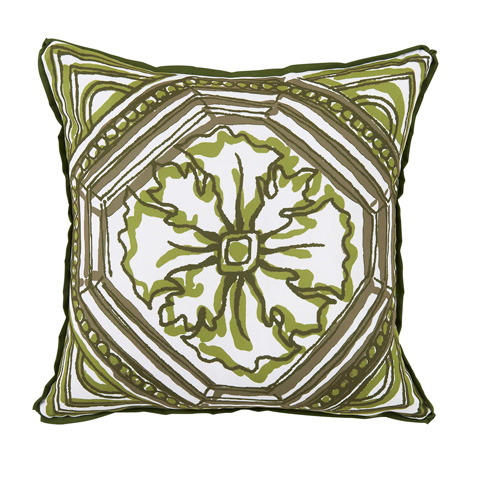 Lacefield Designs - Elm Green Circle Tile Reversible Outdoor Pillow - OUT57