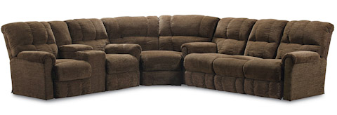 Lane Home Furnishings - Griffin Brown Fabric Reclining Sectional - 327 GROUP