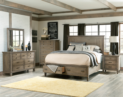 Legacy Classic Furniture - Five Piece Panel Bedroom Set with Storage - 2760SK SET2