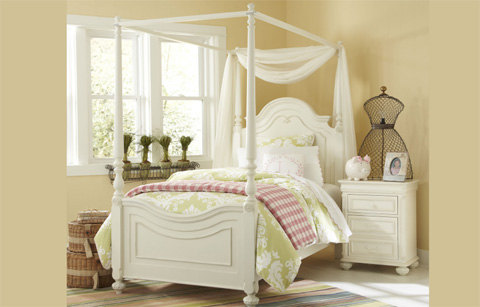 Image of Twin Poster Bed with Canopy