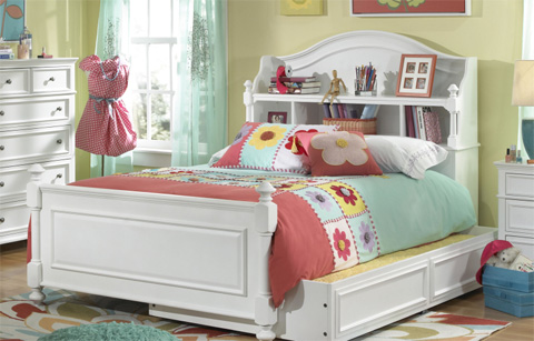 Image of Full Bookcase Bed with Storage Drawer