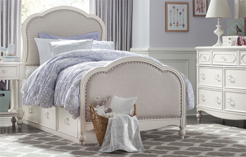 Image of Twin Victoria Upholstered Panel Bed
