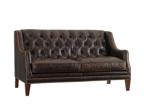 Image of Sloane Leather Tufted Settee