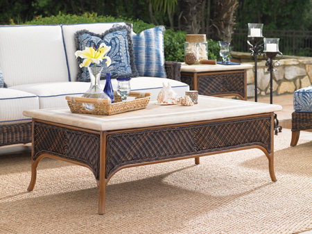 Tommy Bahama - Rectangular Cocktail Table with Weatherstone Top - 3170-TBL