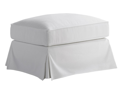 Lexington Home Brands - Stowe Slipcover Ottoman in White - 7476-44WH
