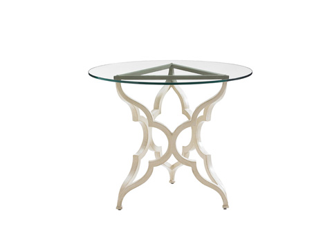 Image of Round Outdoor Breakfast Table with Glass Top