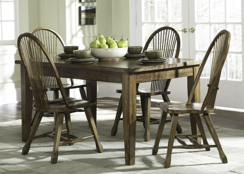 Image of Solid Top Leg Table 5 Piece Dining Set