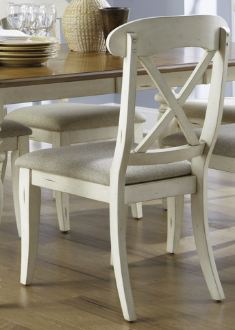 Image of Upholstered X Back Dining Side Chair