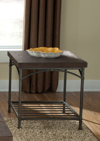 Image of Rustic Metal End Table with Storage Shelf