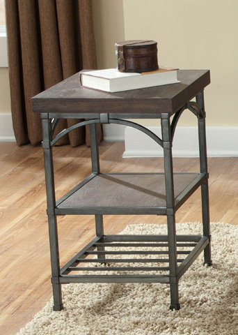 Image of Rustic Metal Chair Side Accent Table