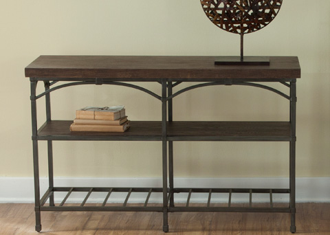 Liberty Furniture - Rustic Metal Sofa Table with Storage Shelves - 202-OT1030
