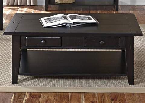 Liberty Furniture - Rectangular Cocktail Table in Black - 17-OT4001