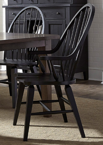 Image of Windsor Back Arm Chair in Black