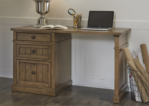 Image of Rectangular Desk with File Cabinet
