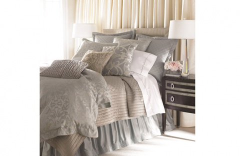 Image of Jackie Blue-Silver Jacquard Bedding Package