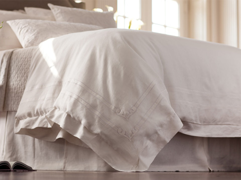 Image of Casablanca White Linen Duvet Cover