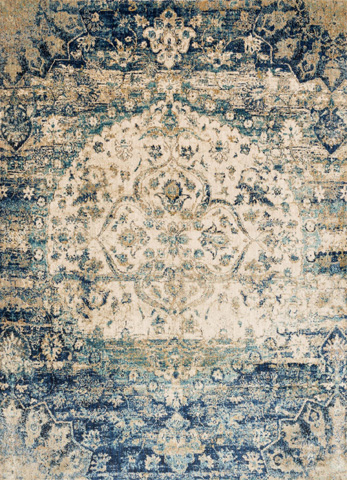 Image of Blue and Ivory Rug