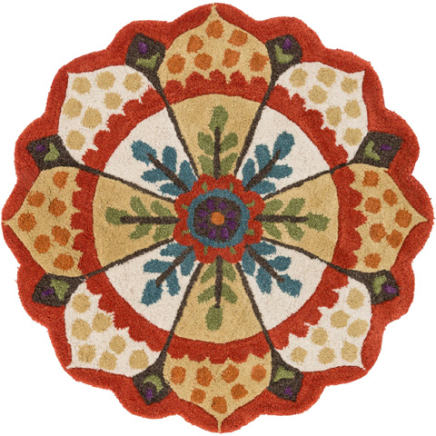 Image of Red and Ivory Rug