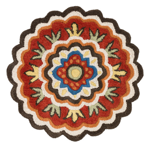 Image of Dark Brown and Red Rug