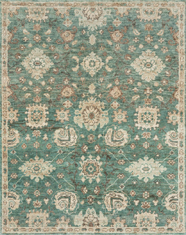 Image of Aqua and Beige Rug
