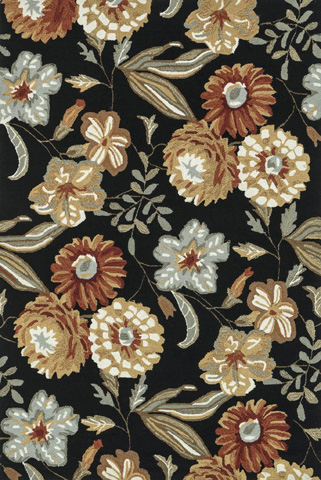 Image of Black and Floral Rug