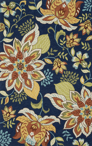 Image of Blue and Floral Rug